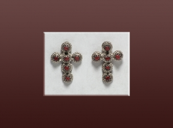 Zuni Coral Sterling Cross Earrings