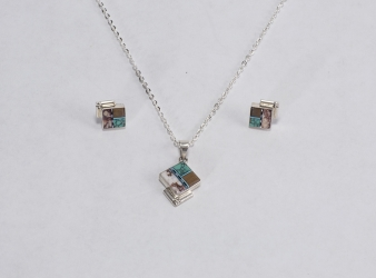 Square Pendant/Earrings set Wild Horse & Turquoise