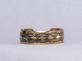 Gold Overlay Nickel Wide Cuff Bracelet