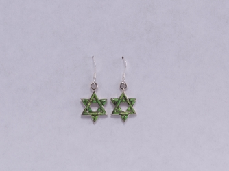 Green Turquoise Star of David Earrings