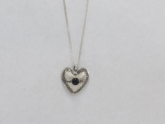 Heart Pendant of Nickel with Jet Stone & chain