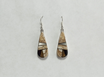 Boulder Stone, Jet, Mother of Pearl Earrings