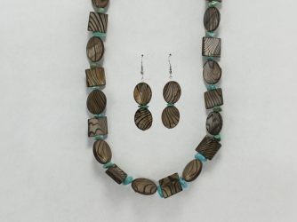 Zebra brown Mother of Pearl Shell necklace/earring set