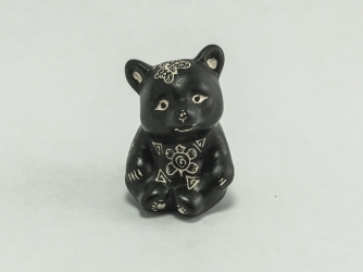 Acoma Black & White Hand Painted Bear Fetish