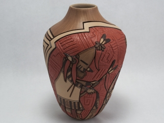 The Kachina' Chiefs Prayer Vase by Hopi Artist Marty and Elvira Naha