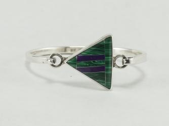 Malachite & Purple Spiny Oyster Clasp Sterling Bracelet
