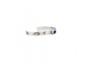 Sterling Stamped Bracelet w/ Oval Lapis Stone