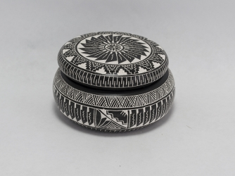 Black and White Etched Jewelry Box with Lid