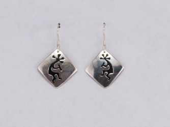 Hopi Kokopelli Overlay Sterling Earrings
