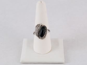Onyx and Feather Sterling Ring