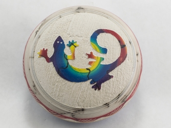 Horse Hair Navajo Jewelry Box - Gecko Decorated Lid