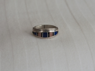 Deep Blue Lapis and Pink Shell Ring