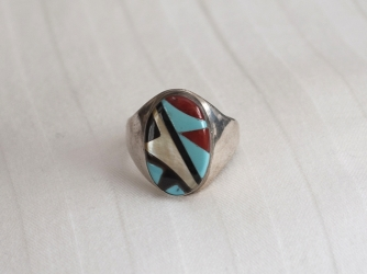 Turquoise, Jet, Coral, Mother of Pearl Ring