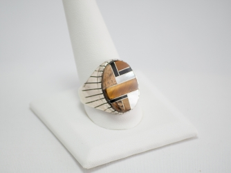 Navajo Inlay Ring with Tiger Eye, Jet, Picture Jasper, MofP