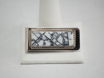 Navajo Money Clip White Buffalo Turquoise Inlay by Yazzie