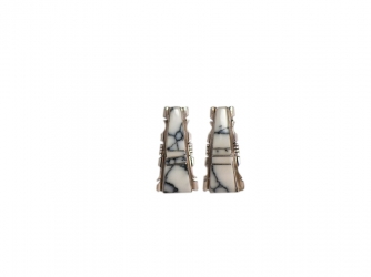 Navajo Post White Buffalo Earrings by Steve Francisco