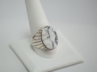Navajo White Buffalo Turquoise Inlay Ring by Ray Jack