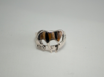 Horse Ring of Tiger Eye, Picture Jasper, Jet