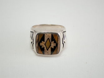 Square Ring with side design of Tiger Eye, Jet, Picture Jasper