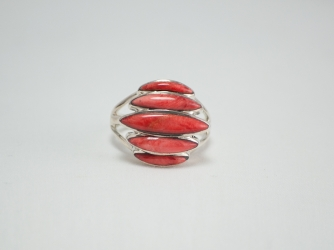 Five Stone Orange Spiny Oyster Ring size 8