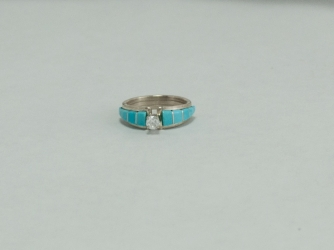 Turquoise and Cubic Zarconia Ring