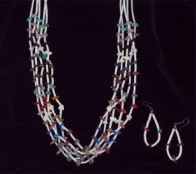 Nugget and Heishi Five Strand Necklace and Earrings